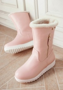 Pink Round Toe Flat Zipper Casual Mid-Calf Boots