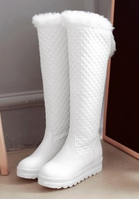 White Round Toe Flat Faux Fur Patchwork Fashion Knee-High Boots