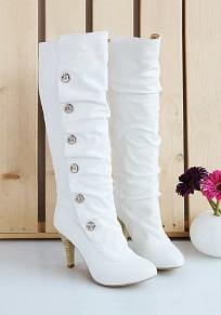 White Round Toe Stiletto Rhinestone Fashion Mid-Calf Boots