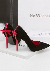 Black Point Toe Stiletto Bow Fashion High-Heeled Shoes