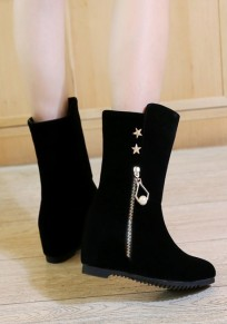 Black Round Toe Within The Higher Zipper Casual Mid-Calf Boots