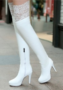 Bottes bout rond stylet dentelle blanc