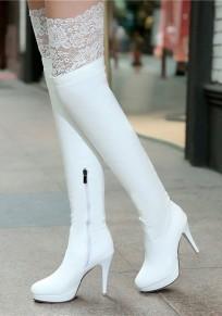 White Round Toe Stiletto Lace Patchwork Fashion Boots