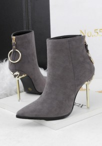 Grey Point Toe Stiletto Zipper Fashion Ankle Boots