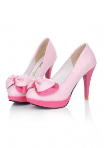Pink Round Toe Stiletto Bow Sweet High-Heeled Shoes