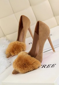 Khaki Point Toe Stiletto Faux Fur Furball Fashion High-Heeled Shoes