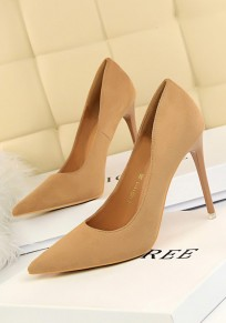 Khaki Punkt Zehe Stilett Wildleder Mode Schuhe mit hohen Absätzen