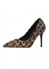 Black Point Toe Stiletto Plaid Print Fashion High-Heeled Shoes