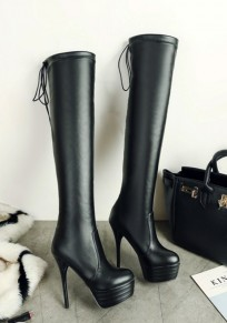 Black Round Toe Stiletto Fashion Over-The-Knee Boots