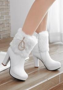 White Round Toe Chunky Rhinestone Fashion Ankle Boots