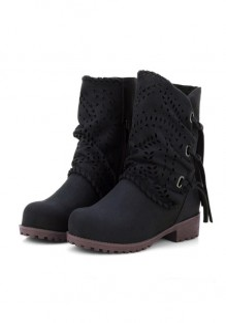 Schwarz Runde Zehe Blockabsatz Cut Out Fransen Retro Stiefeletten Damen Schuhe