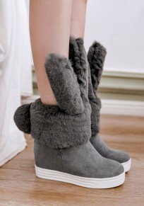 Grey Round Toe Within The Higher Faux Fur Furball Cute Ankle Boots