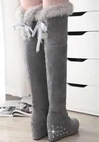 Grau Runde Zehe Keilabsatz Strass Schleife Schnürung Fellimitat Winter Gefüttert Langschaft Overknees Stiefel Damen