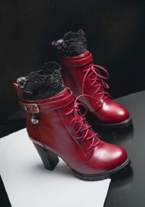 Red Round Toe Chunky Buckle Lace Stitching Fashion Ankle Boots