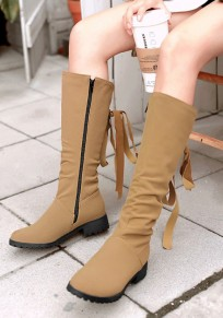 Yellow Round Toe Chunky Cross Strap Casual Mid-Calf Boots
