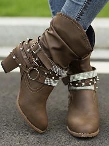 Kaffee Runde Zehe Blockabsatz Strass Nieten Cut Out Herbst Winter Stiefeletten Damen Hohen Absatz Stiefel Schuhe Boots