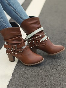 Brown Round Toe Chunky Rivet Fashion Ankle Boots