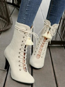 Apricot Round Toe Stiletto Lace-up Tassel Fashion Mid-Calf Boots
