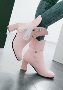 Pink Round Toe Rhinestone Lace Sweet Ankle Boots