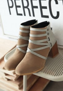 Apricot Round Toe Zipper Casual Ankle Boots