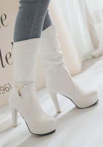 White Round Toe Chunky Fashion Mid-Calf Boots