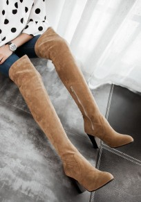 Yellow Round Toe Chunky Zipper Fashion Over-The-Knee Boots
