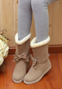Camel Round Toe Flat Bow Casual Mid-Calf Boots