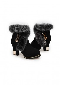 Black Round Toe Chunky Metal Decoration Faux Fur Fashion Ankle Boots
