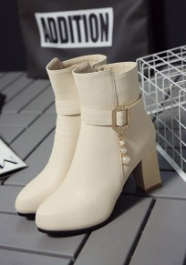 Beige Round Toe Chunky Pearl Buckle Fashion Ankle Boots