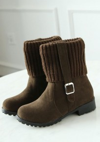 Brown Round Toe Chunky Buckle Casual Ankle Boots