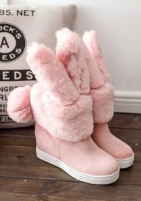 Pink Round Toe Within The Higher Faux Fur Furball Cute Ankle Boots