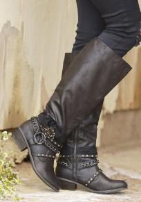 Black Round Toe Chunky Rivet Zipper Fashion Knee-High Boots