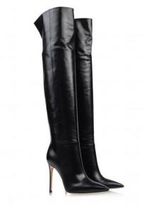 Schwarze Spitze Zehe Stilett Mode Over-The-Knee Stiefel