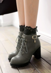 Grey Round Toe Chunky Lace Stitching Fashion Ankle Boots