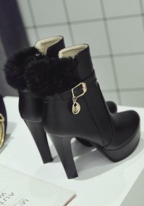 Black Round Toe Chunky Faux Fur Patchwork Fashion Ankle Boots