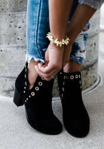 Black Round Toe Chunky Rivet Cut Out Fashion Ankle Boots
