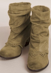 Apricot Round Toe Chunky Tassels Lace Casual Ankle Boots