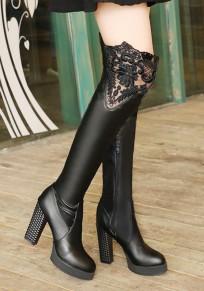 Botas puntera redonda puntada de encaje gruesa moda sobre la rodilla negro