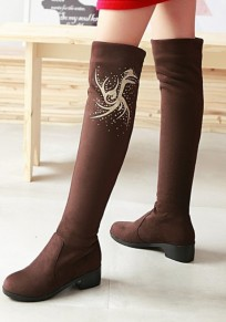 Brown Round Toe Chunky Floral Print Fashion Over-The-Knee Boots