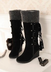 Black Round Toe Wedges Cross Strap Tassel Fashion Mid-Calf Boots