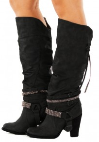 Black Round Toe Chunky Rhinestone Fashion Mid-Calf Boots
