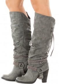 Grey Round Toe Chunky Rhinestone Fashion Mid-Calf Boots