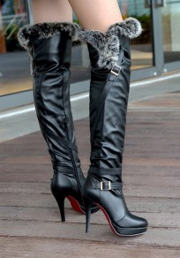 Black Round Toe Stiletto Buckle Faux Fur Patchwork Fashion Over-The-Knee Boots