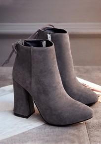 Graue runde Zehe klobig Reißverschluss Mode Knöchel Boots