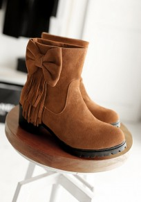Yellow Round Toe Chunky Bow Tassel Fashion Ankle Boots