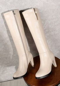 Beige Round Toe Chunky Casual Knee-High Boots