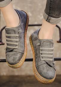 Chaussures bout rond lacets plats décontracté cheville gris