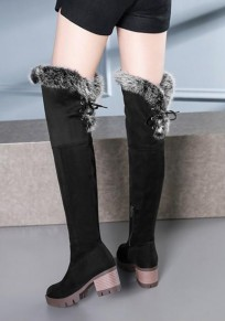 Black Round Toe Chunky Faux Fur Fashion Over-The-Knee Boots