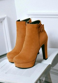 Light Brown Round Toe Chunky Buckle Fashion Ankle Boots