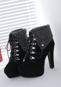 Black Round Toe Chunky Lace-up Fashion Ankle Boots